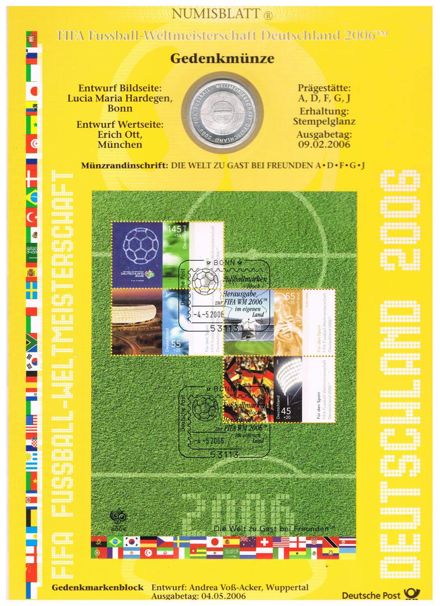 Deutschland, Wm-numisblatt 2006 mit 10-€-münze Fifa Fussball-wm 2006