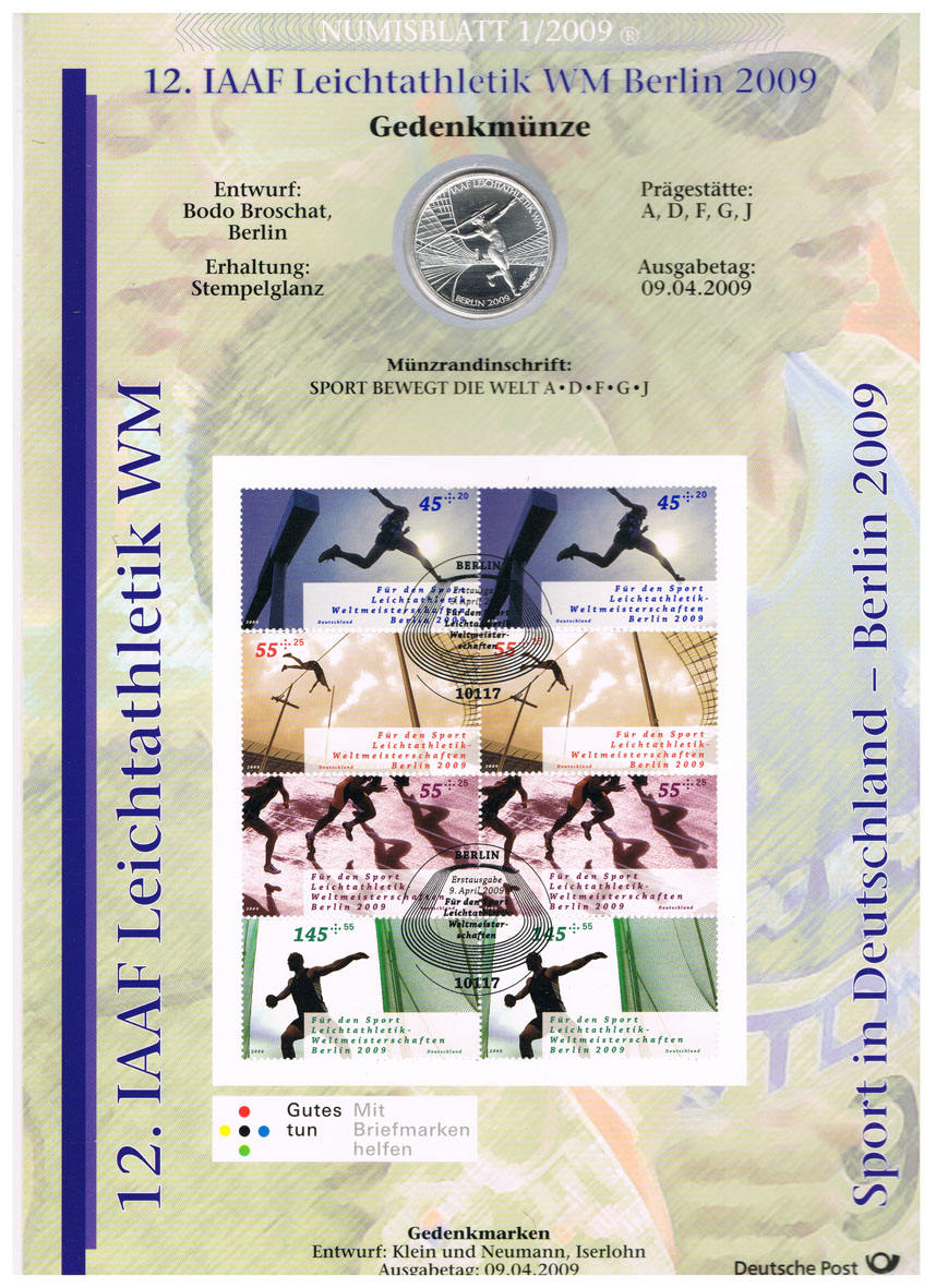 Deutschland, Numisblatt 1/2009 mit 10-€-münze Iaaf Leichtathletik Wm