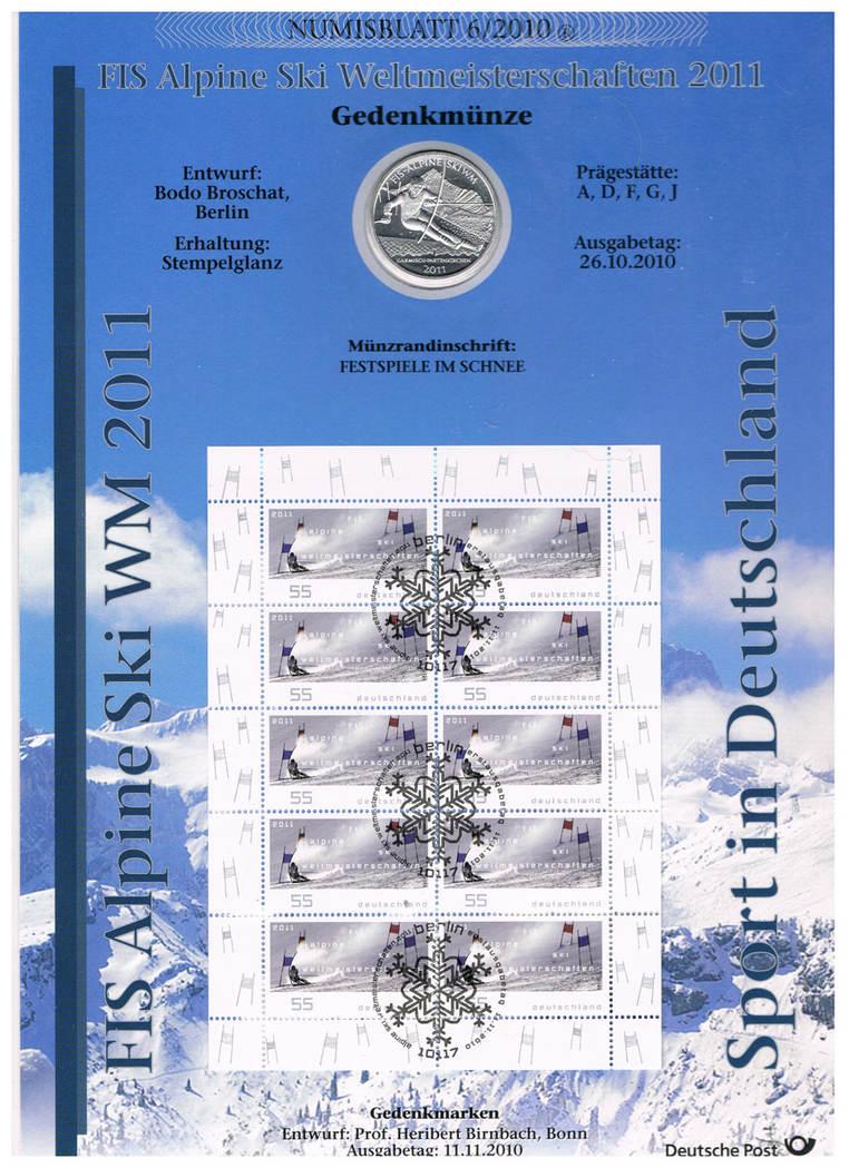 Deutschland, Numisblatt 5/2010 mit 10-€-münze Alpine Ski-wm 2011 Brd
