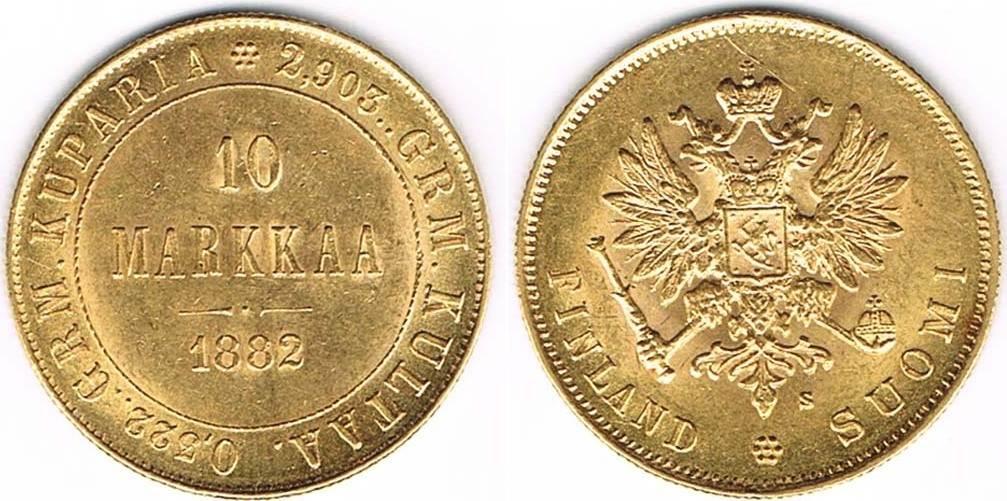 Finnland, 10 Markkaa (10 Mark) 1882, Gold, Alexander Iii , Erhaltung