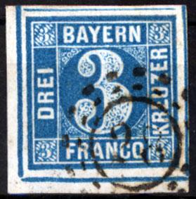 Bayern, Mi -nr 2, Freimarke: Wertziffer , Bogenecke 3 Kreuzer 1850/58