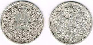 1 Mark 1909 J Kaiserreich Kaiserreich, Kur...