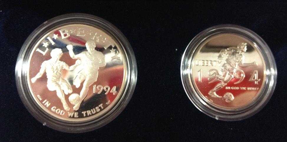 Usa 2 Münzen Set Half + One Dollar, Fussball Wm 1994 in Usa Set, Pp 1