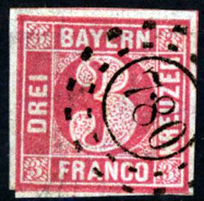 Bayern, Mi -nr 9 a , Freimarke: Wertziffer 3 Kreuzer 1862