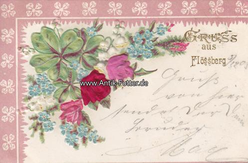 Ansichtskarte / Postkarte / Prägekarte /mit Blumen aus Stoff/gruss au