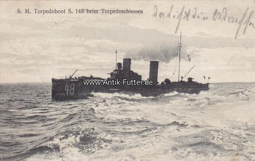 Ansichtskarte / Postkarte / S M Torpedoboot S 148 beim Torpedoschiess