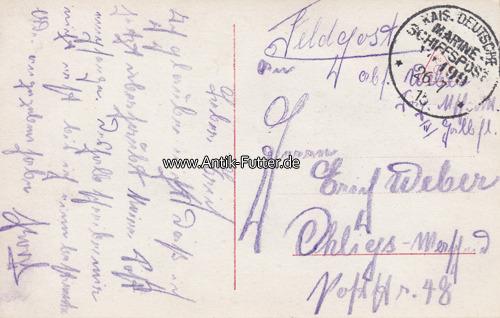 Ansichtskarte / Feldpost / Marine-schiffspost No 199 / 3 Torpedoboots