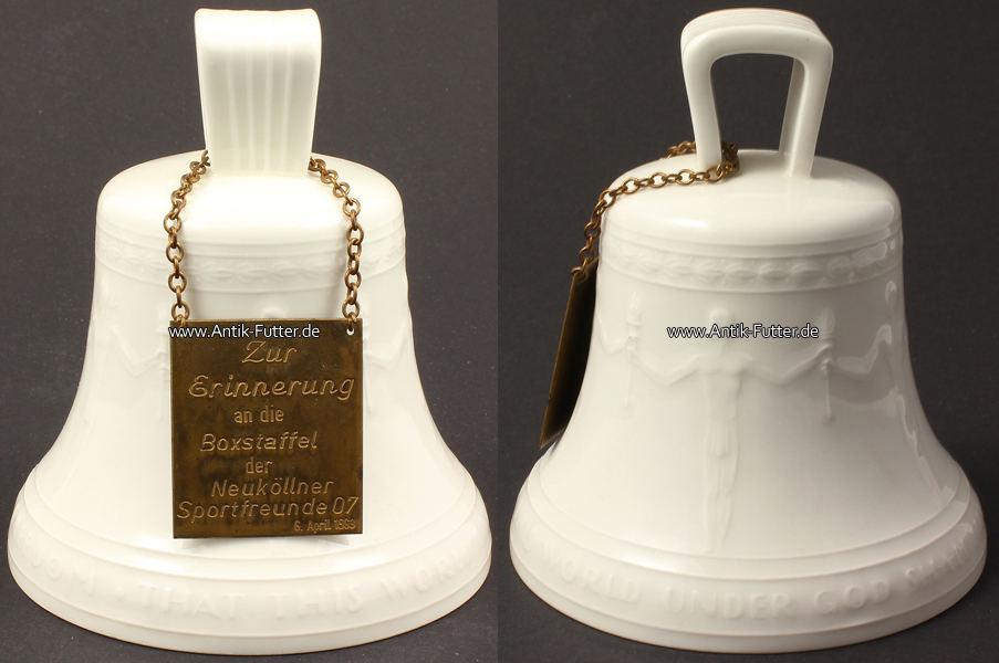 Porzellan Glocke / Freiheitsglocke / Kpm Berlin / mit anhängendem Sch
