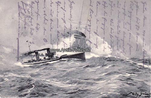 Künstlerkarte von Willy Stöwer / Torpedoboots-angriff in der Nordsee