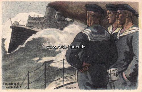 Künstler -und Reklamekarte/leipniz Keks/torpedoboot in voller Fahrt H