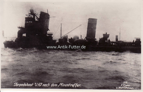 Ansichtskarte/torpedoboot U 67 nach dem Minentreffer Deutsches Reich