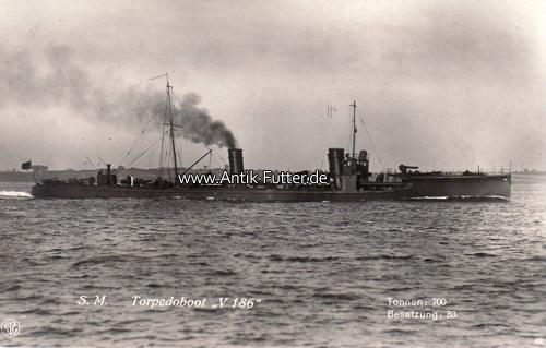 Ansichtskarte/postkarte/s M Torpedoboot V 186/tonnen: 700/besatzung:
