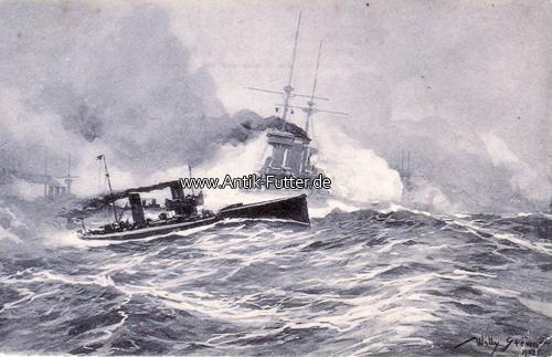 Künstlerkarte von Willy Stöwer/torpedoboots-angriff in der Nordsee De