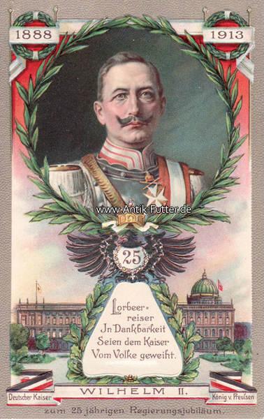 Prägekarte/wilhelm Ii Deutscher Kaiser König v Preußen/lorbeer=reiser