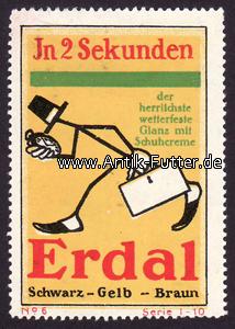 Reklamemarke/erdal/schwarz Gelb Braun/in 2 Sekunden Deutsches Reich O