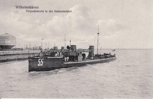 Ansichtskarte/postkarte/wilhelmshaven/torpedoboote in der Hafeneinfah