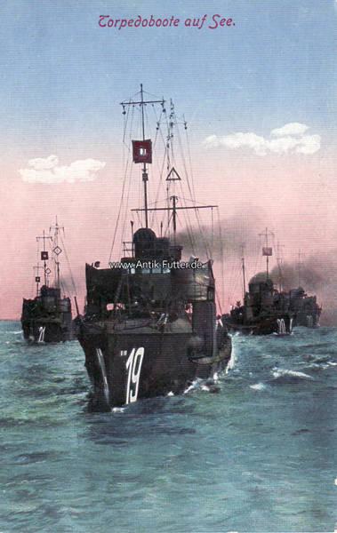 Ansichtskarte/postkarte/torpedoboote auf See Deutsches Reich O J