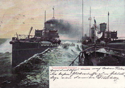 Ansichtskarte/postkarte/torpedoboots-division in voller Fahrt Deutsch