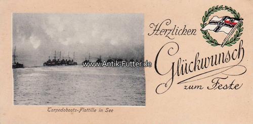 Herzlichen Glückwunsch zum Feste/torpedoboots-flottille in See/fröhli