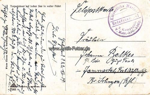 Ansichtskarte/postkarte/torpedoboot/mit Briefstempel Kaiserliche Mari