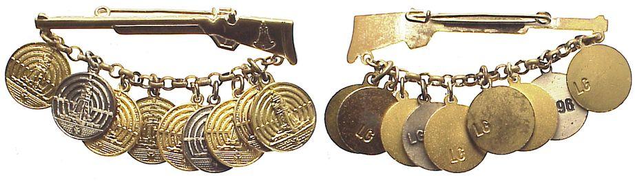 Kyffhäuserbund/silbernes Gewehr mit 9 Jahresanhängern für Luftgewehr