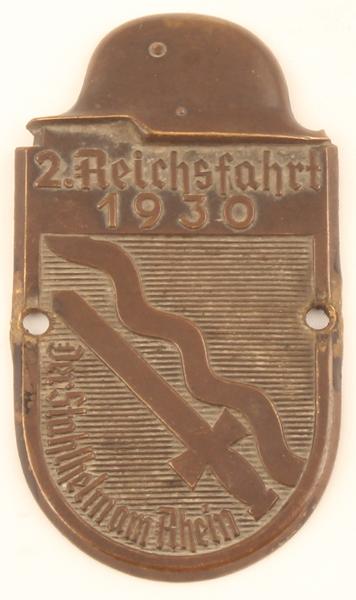 Automobilplakette/2 Reichsfahrt 1930/der Stahlhelm am Rhein Deutsches
