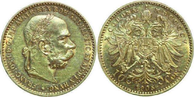 Austria, Franz Josef I, 10 Kronen 1905 Gold