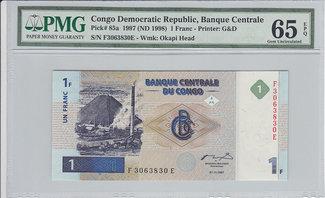 1 Franc 1997 Congo Dem Rep. CONGO DEM. REP...