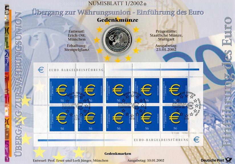 Übergang zur Währungsunion Einführung des Euro Deutschland 10 Euro 20