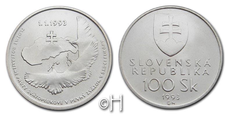 Nationale Unabhängigkeit (friedenstauben) Slowakei 100 Kronen/korun 1