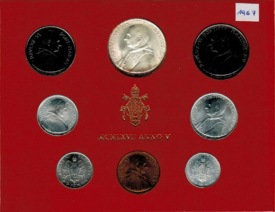 Paul Vi (1963 1978) Vatikan Kms (lira 500 Lire) 1967