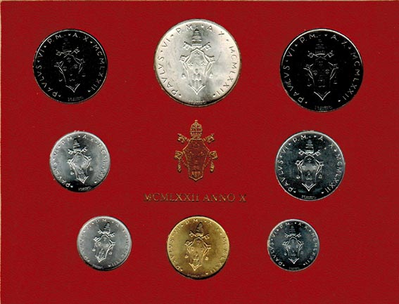 Paul Vi (1963 1978) Vatikan Kms (lira 500 Lire) 1972