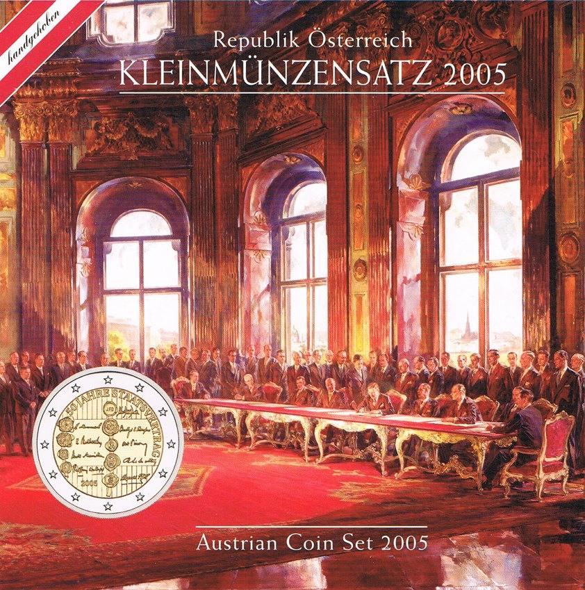 Kursmünzensatz Kms 50 Jahre Staatsvertrag Österreich 3,88 Euro (1 Cen