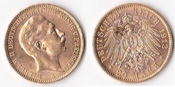 Kaiserreich,königreich Preußen, Deutschland, 20 Mark Gold, 1913,