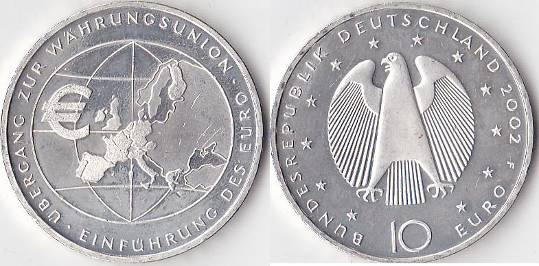 Einführung des Euro, Deutschland, 10 Euro, 2002, Silber
