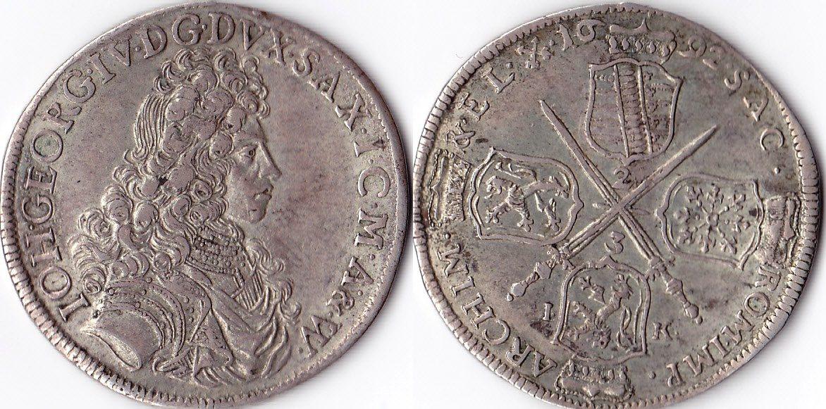 Sachsen,johann Georg Iv , Deutschland, 2/3 Taler, 1692, Silber