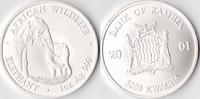 5000 Kwacha, 2001, Sambia Eine Unze Silber, st.,  100,00 EUR  Excl. 3,50 EUR Verzending