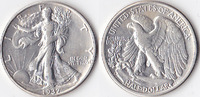 Half Dollar, 1937 D, USA, Liberty Walking Type 1916-1947, vz.,  45,00 EUR