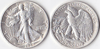 Half Dollar, 1942 D, USA, Liberty Walking Type 1916-1947, vz,  45,00 EUR