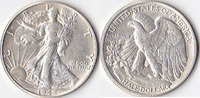 Half Dollar, 1942 , USA, Liberty Walking Type 1916-1947, vz,  40,00 EUR