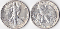 Half Dollar, 1944 D, USA, Liberty Walking Type 1916-1947, vz,  40,00 EUR