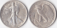 Half Dollar, 1944 , USA, Liberty Walking Type 1916-1947, vz,  35,00 EUR