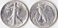 Half Dollar, 1943 S, USA, Liberty Walking Type 1916-1947, vz,  45,00 EUR