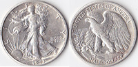 Half Dollar, 1943 D, USA, Liberty Walking Type 1916-1947, vz,  50,00 EUR