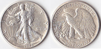 Half Dollar, 1945 D, USA, Liberty Walking Type 1916-1947, vz,  40,00 EUR