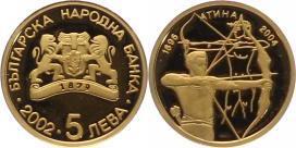 Republik seit 1991 Bulgarien 5 Leva Gold 2002