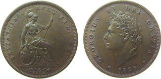 1 Penny 1826 Großbritannien Ku Georg IV vz...