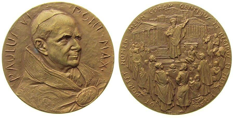 Bronze Paul Vi (1963-78) auf die Bekehrung des Paulus, Brustbild halb