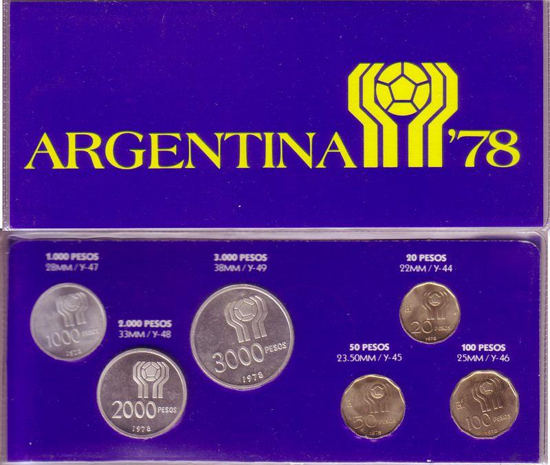 div Fußball Wm, 6 Münzen Argentinien 6170 Pesos 1978