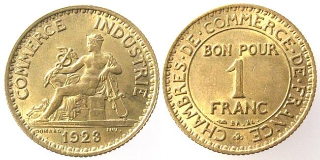 1 Franc 1923 Frankreich - France AlBr Chambre de Commerce vz-unc